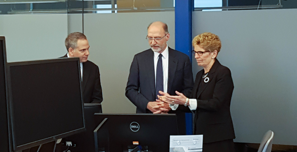 Bruno Rizzuto and Allan Chegus with Premier Kathleen Wynne.