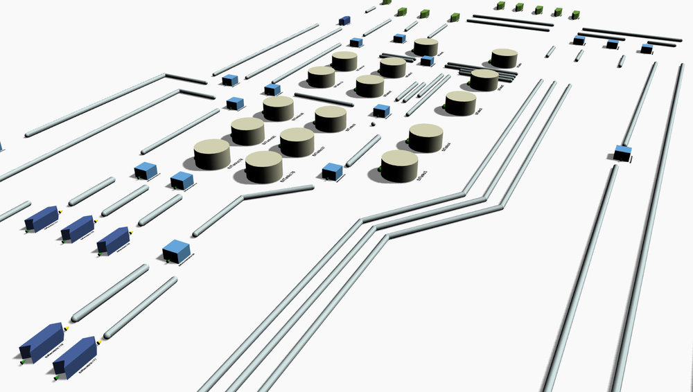 Screen capture of Stream's software in action - Drag & Drop Interface -Terminals & Pipelines.