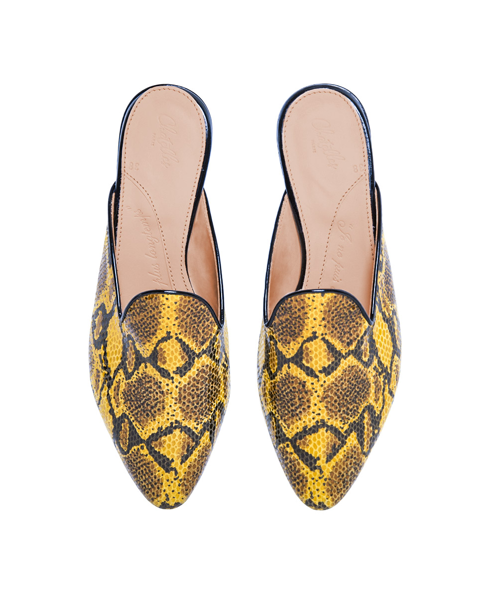 Chatelles Romuald Mules Yellow Python Print Leather $252 www.mychatelles.com 1.jpg