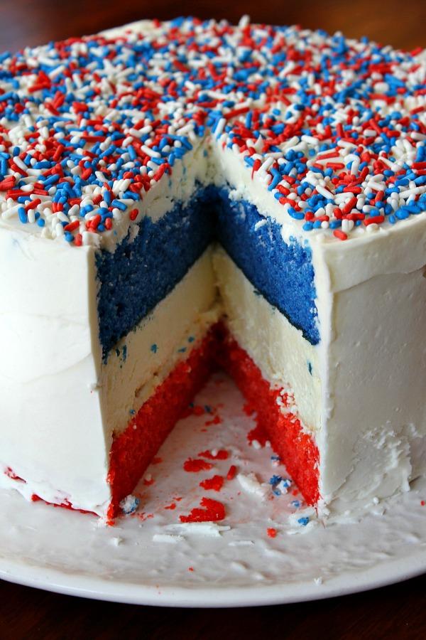Red, White + Blue Cheesecake Cake