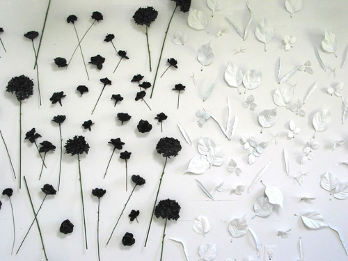 Blacks and Whites, 2008   painted cloth flowers and stems/leaves, size variable