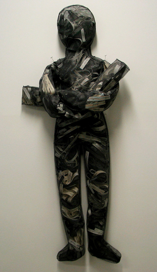 Black and White Slurs, 2008   screening, thread, paper, ink, thread; 5 feet x 2 feet x 3 inches