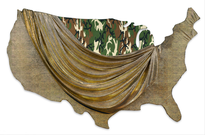 Underpinnings, 1989   homasote, fabrics;36 x 60 inches
