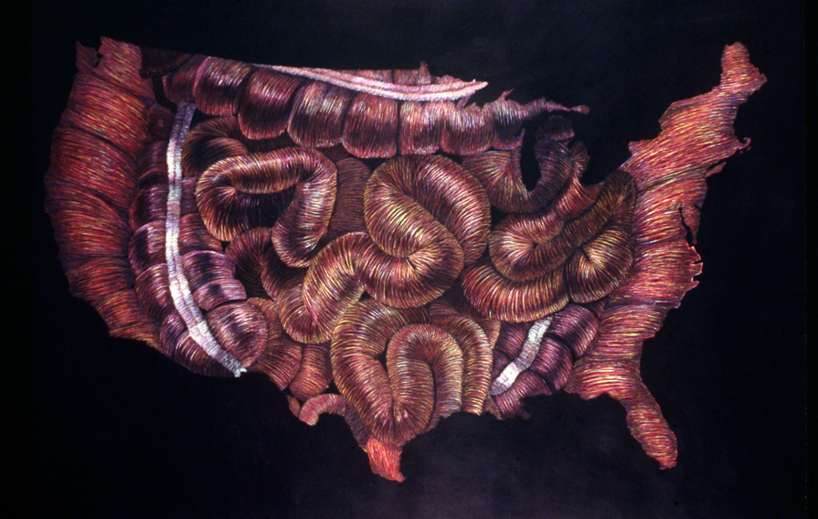Innards, 1988   pencil, paper; 36 x 72 inches