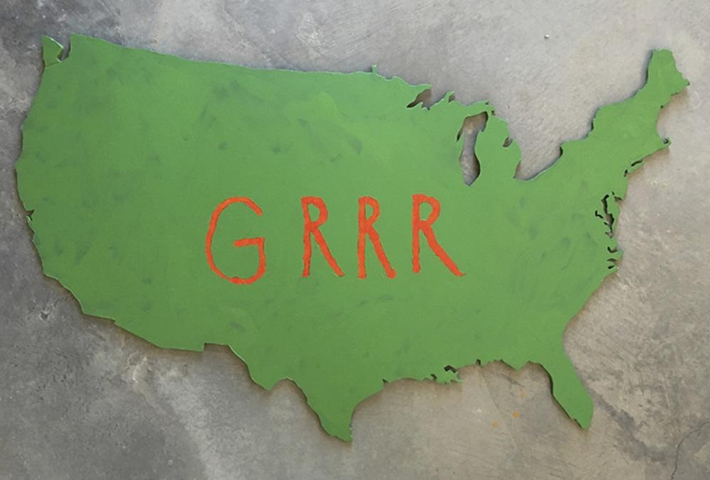 Grrr, 2012    Coroplast, acrylic paint;18 x 24 inches