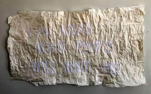 WhiteOnWhite, 2017    paper, wheat paste  40 x 21.5 inches