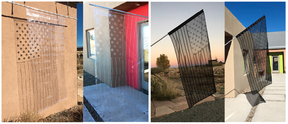 "Clear American Flag,  2018   (35"" x 68""; vinyl, thread) and  Chiffon American Flag,  2018 (31.5"" x 58""; chiffon, thread)"