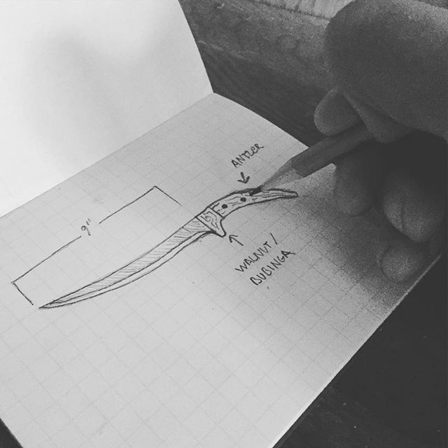 Here's one of our founders @hammerandhuntsman using our #notebooks to design a custom fillet knife. Stay tuned for a new post on choosing the best hunting knife! Hint: we recommend ordering from @basecampx and @neemantools ! If you're wondering where to get one of these badass notebooks, hit up the link in our bio.  #hunting #outdoors #wilderness #knives