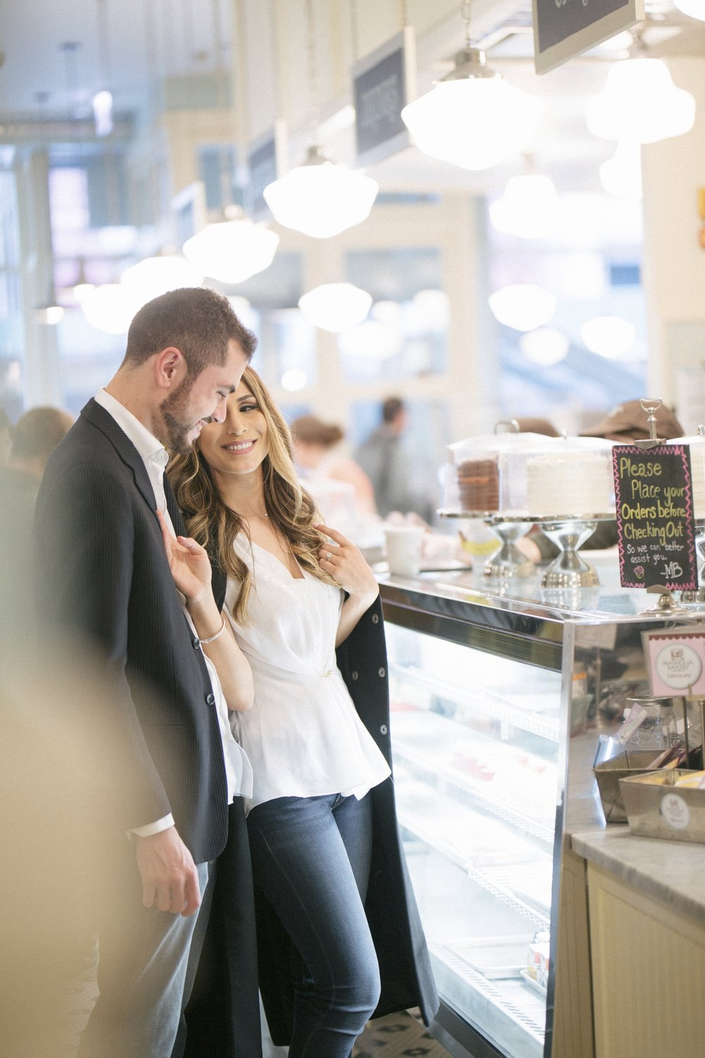 Magnolia Bakery Cafe Chicago Engagement Photography by Le Cape Weddings