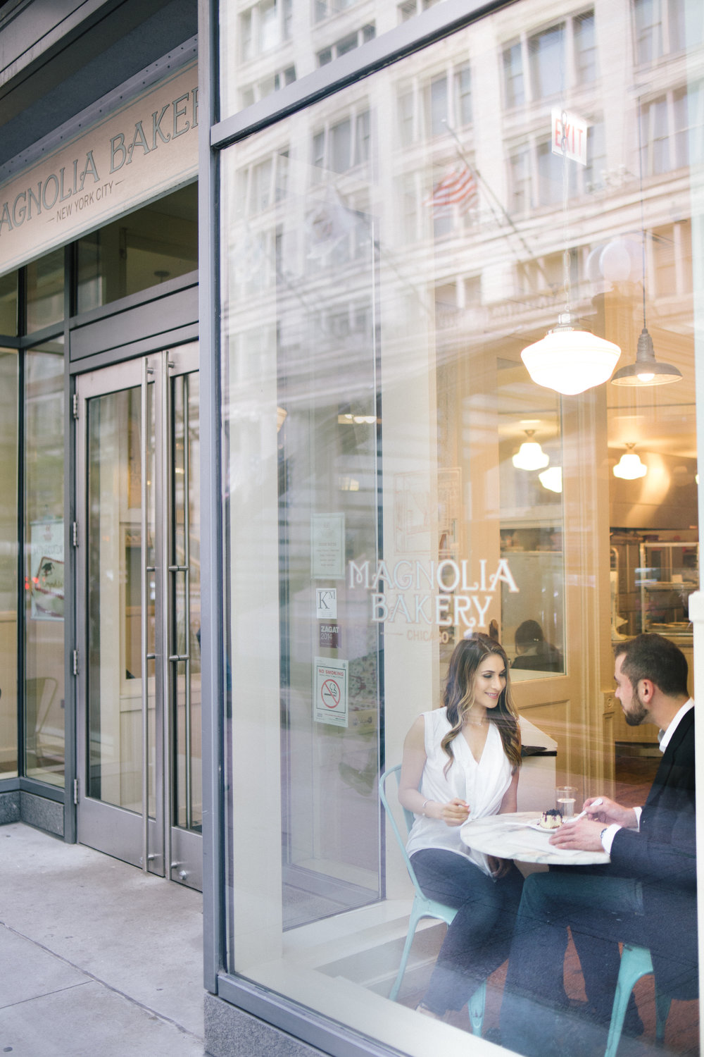 LE CAPE WEDDINGS CHICAGO ENGAGEMENT PHOTOGRAPHER AT MAGNOLIA BAKERY CAFE