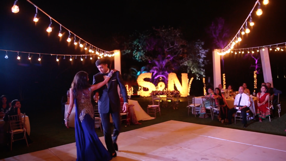 Indian Weddin Reception First Dance at El Cameleon Golf Course Mayakoba