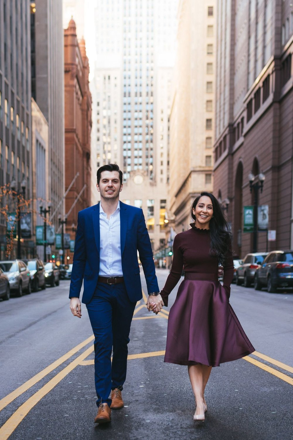 Engagement Session at the Financial District in Chicago