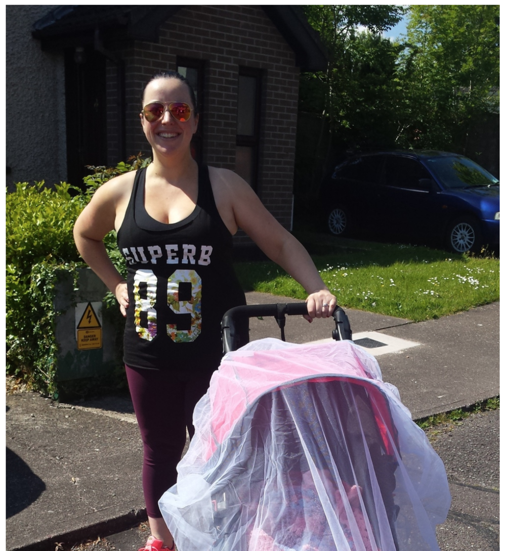 Donna out walking 3 days post partum and in her words ' feeling great.'