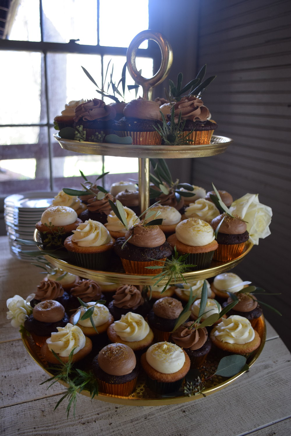 Gold and Sage Wedding Cupcakes