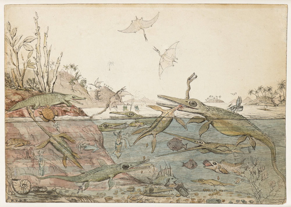 The first image of the prehistoric world: Duria antiquior, a small watercolor painted by the English scientist Henry Thomas De la Beche around 1830.
