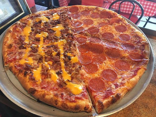 Half pepperoni and half bacon and cheddar cheese pizza yummmm! Stop in for a slice or call for free delivery! #planetpizzanj #yum #santalovespizza 609.886.8800