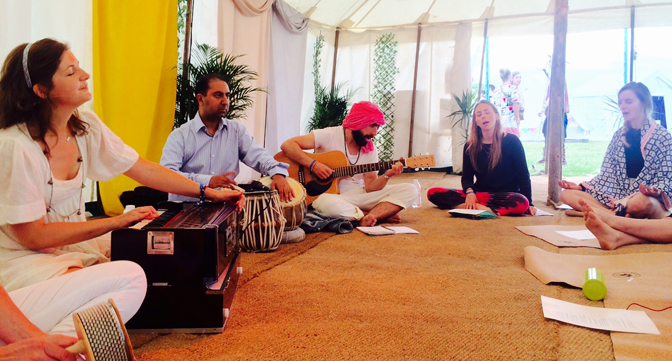 Sophie and Sulekh playing kirtan at Secret Garden Party 2016