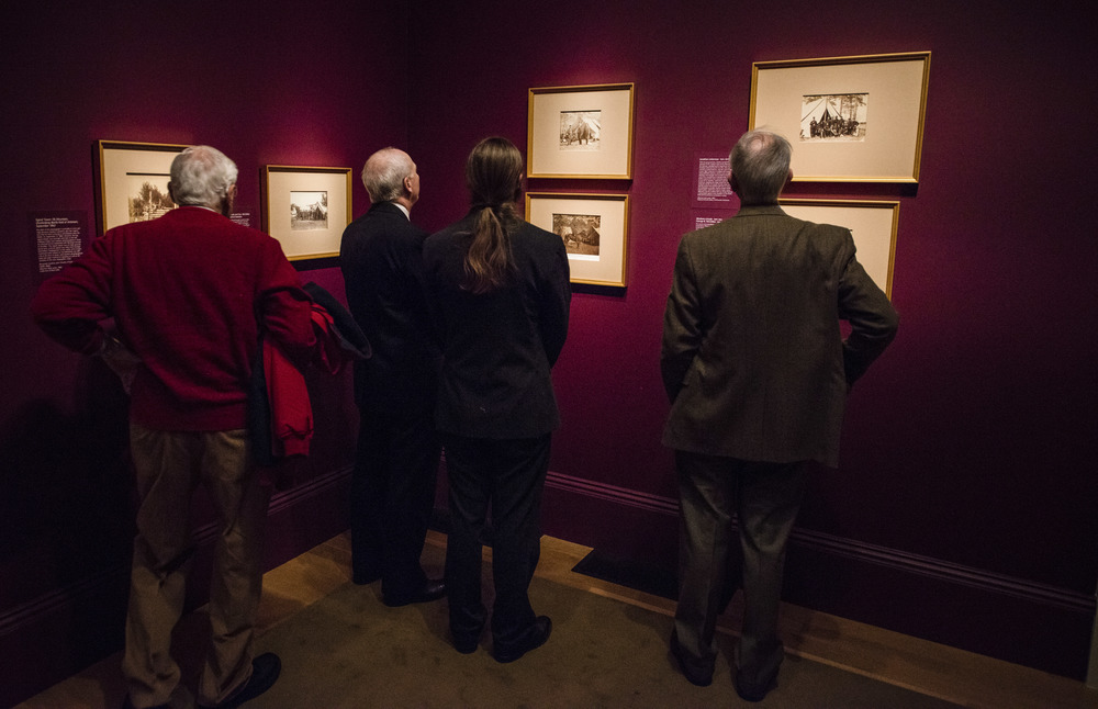 "Visitors see the exhibition ""Dark Fields of the Republic: Alexander Gardner Photographs, 1858-1872."" during the exhibition opening ceremony at Smithsonian National Portrait Gallery in Washington, DC, Tuesday, Jan. 12, 2016. NPG invites donors firstly to show running process of the museum."