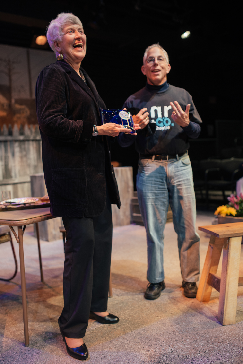 Barbara Bear receiving DC Theatre Scene's Gary Lee Maker Audience Award from Tom Holzman, who won it in 2012, September, 23rd, 2014.