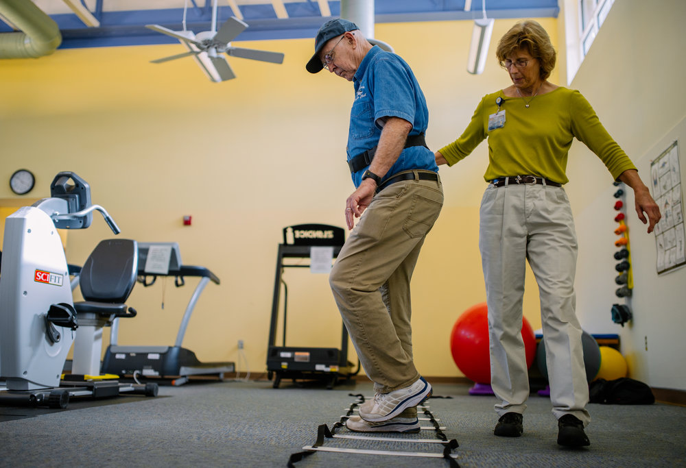 Thomas C. Field, 78, left, attends a physical therapy session on Thursday, November 5th, 2015, in South hill, Va. Thomas' health situation turns stable by participating physical therapies.