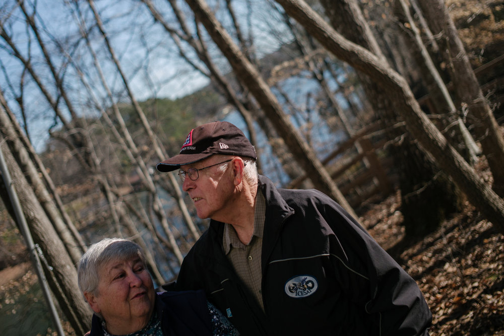Josephine A. Field 78, and Thomas C. Field, 78, walks to Lake Gaston house from their dock on Monday, February, 6th, 2017 in Littleton, North Carolina.