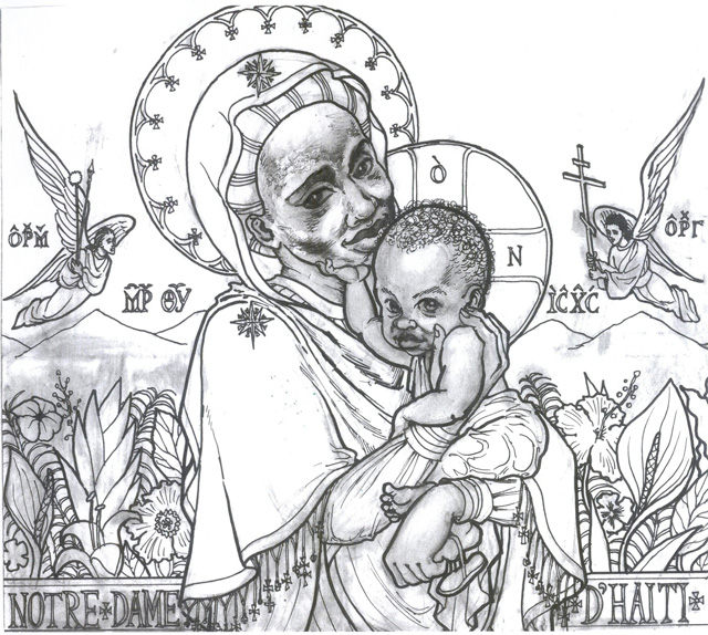 Design for the windows of St. Rose of Lima Chapel at Zanmi Beni Children's Home, in Port au Prince, Haiti, Notre Dame d'Haiti (2013)