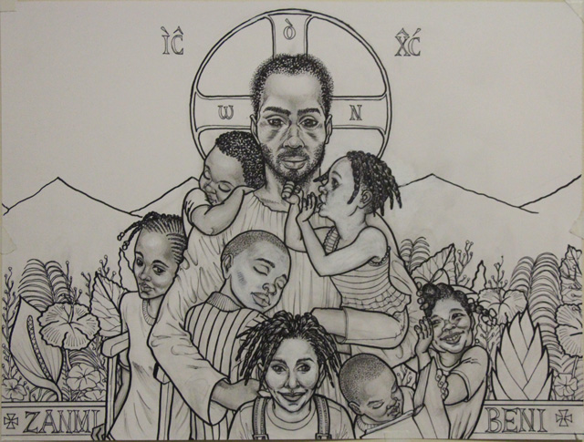Design for the windows of St. Rose of Lima Chapel at Zanmi Beni Children's Home, in Port au Prince, Haiti, Zanmi Beni (2013)