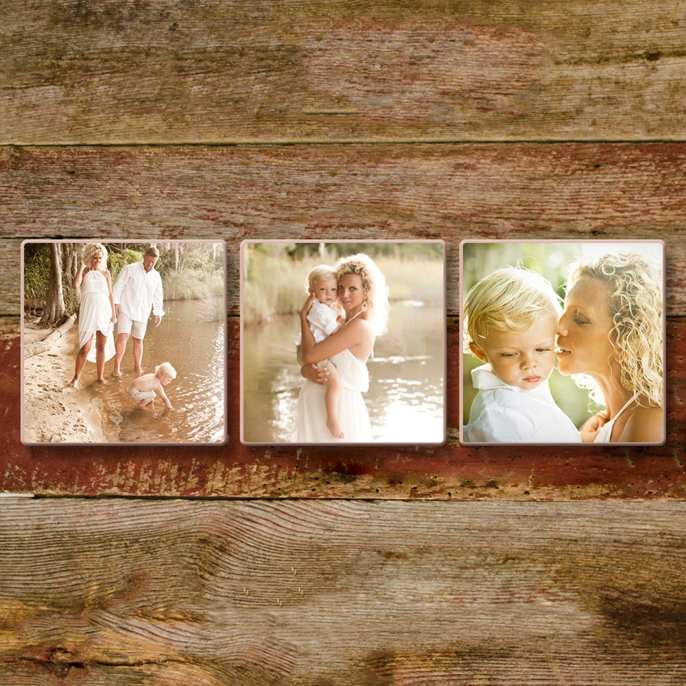 "Heritage Wood Clusters - Options HERENew Rustic and Standard Heritage Woods Clusters are the perfect way to buy multiple prints and save money. Like individual Heritage Woods prints, clusters are Fine Art Paper Mounted directly to 3/4"" wood with hand sanded corners. No wood color or grain shows through these prints so you get the look of a wood print with true color and clarity in the printed image. Available in two finishes, the final product has a hand-made artisan effect."