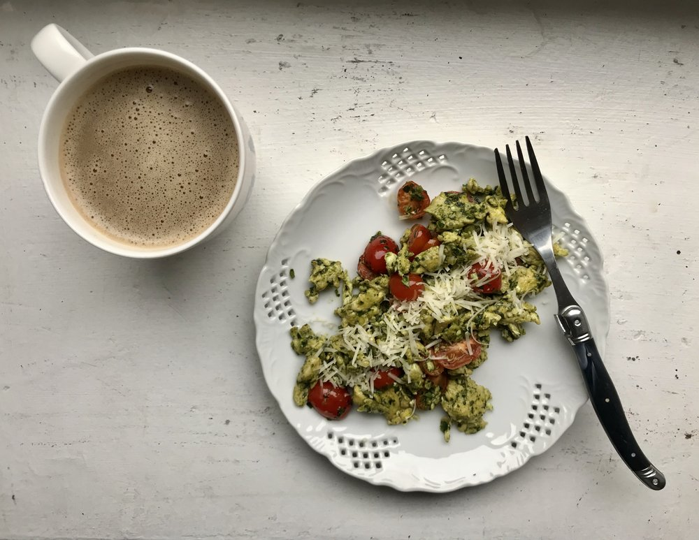 Pesto Egg Scramble