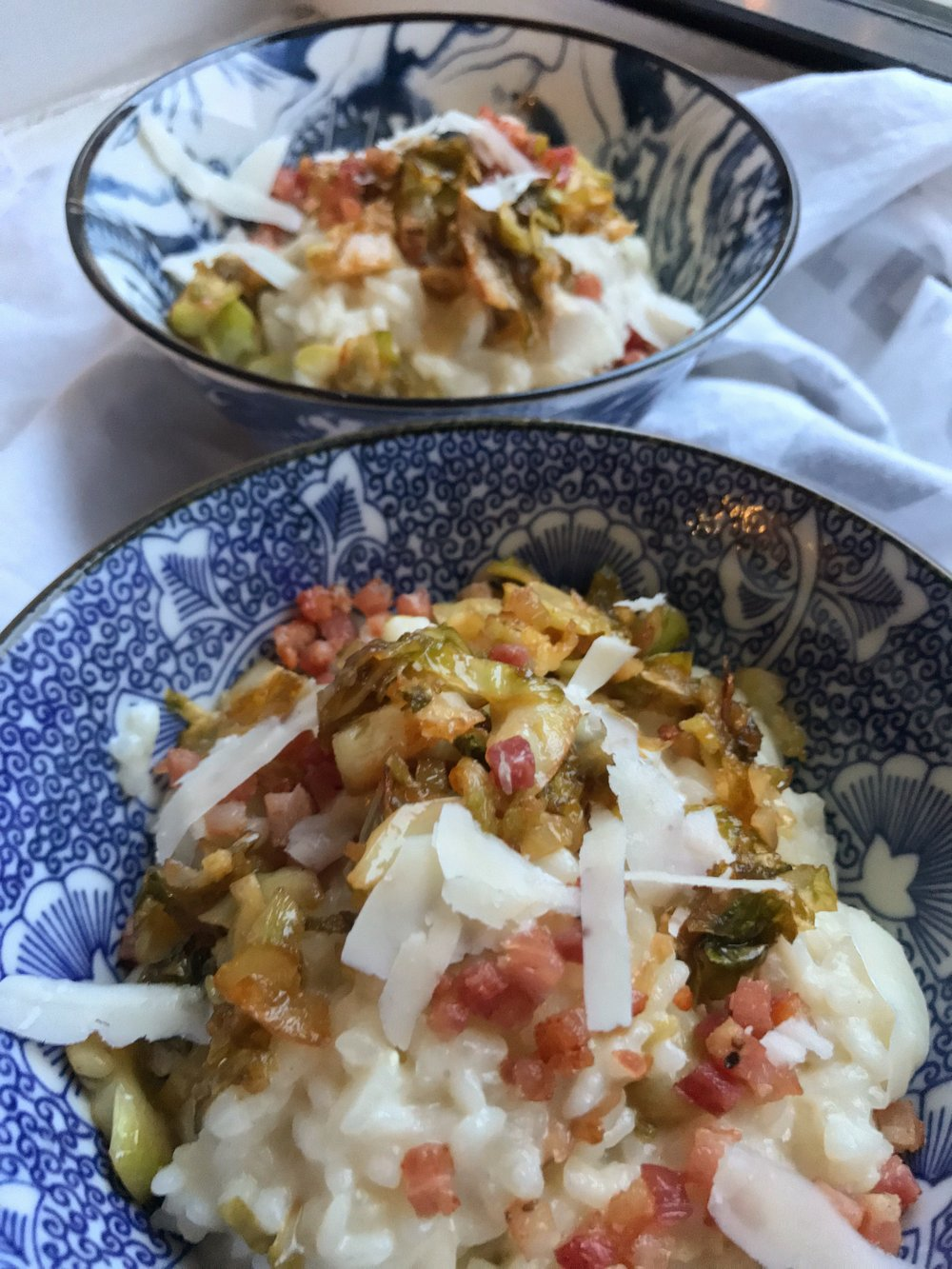 Caramelized Brussels Sprouts Risotto with Pancetta