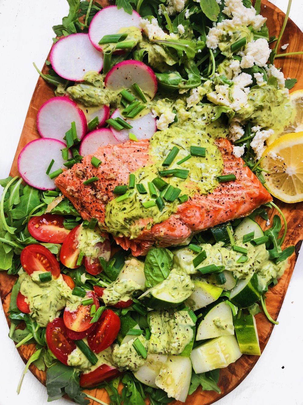 Salmon Salad with Creamy Lemon-Chive Vinaigrette