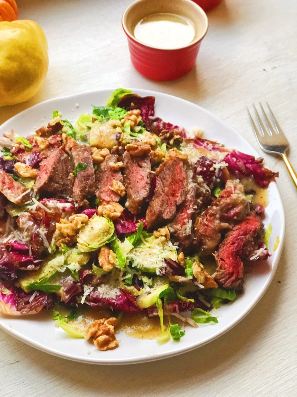 Warm Radicchio and Brussels Sprouts Salad Skirt Steak and Pear Vinaigrette