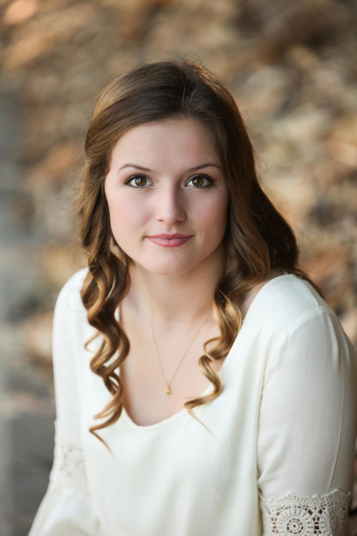 High school senior girl with long brown hair