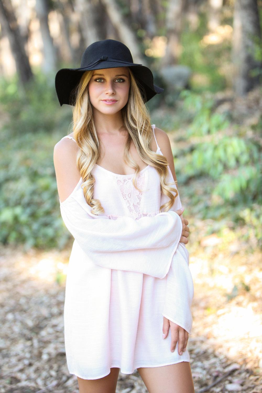 High school senior girl with long blonde hair