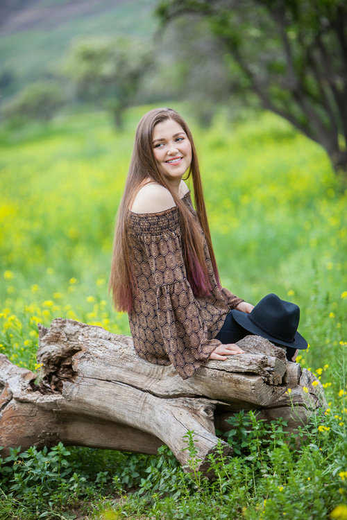 High school senior girl with long dark hair