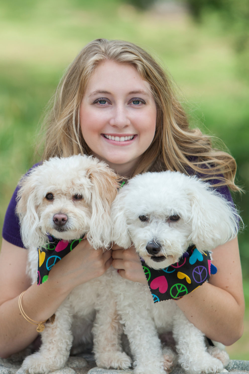 High school senior girl with her dogs