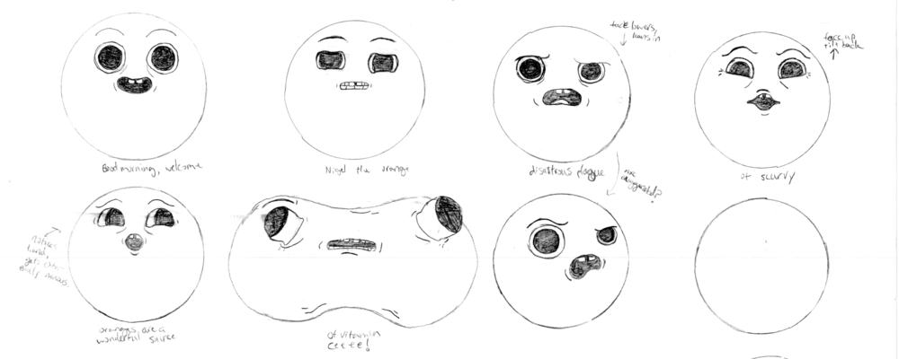 Some sketches working out the facial expressions
