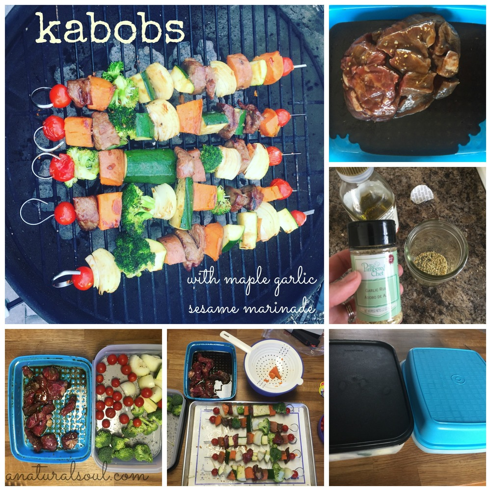 kabobs. with maple garlic sesame marinade