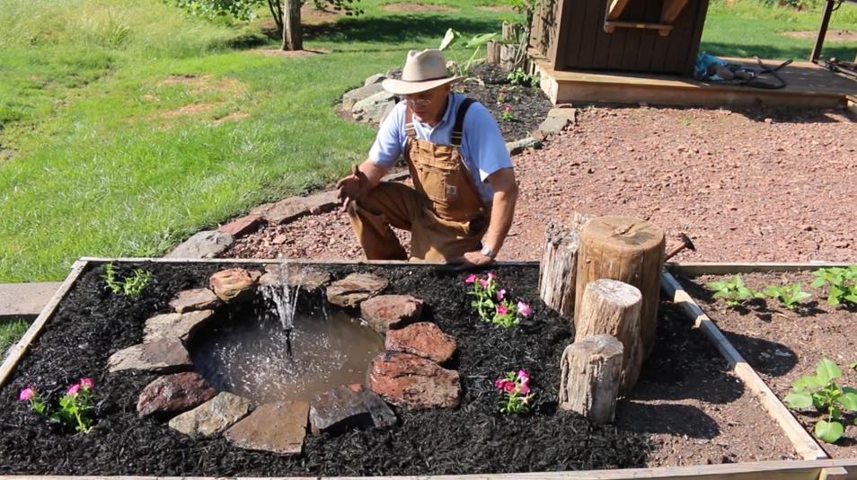 Farmer Fred Backyard Garden Fountain Landscaping