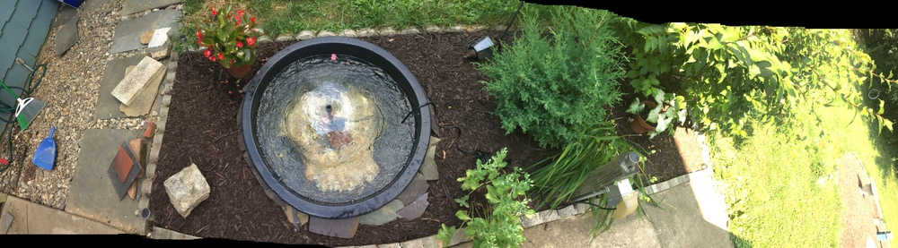 Backyard water fountain panorama!