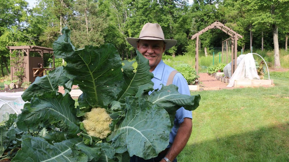 Farmer Fred is right at home in the garden!