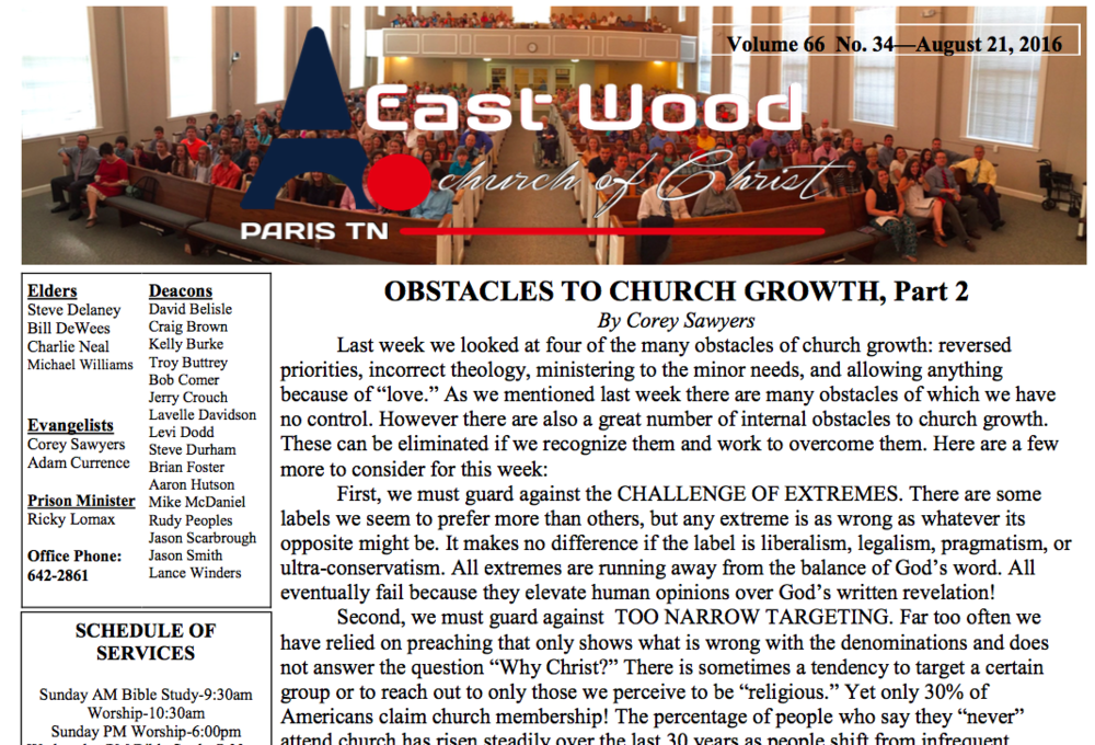 Bulletin for 8/21/16 - East Wood church of Christ in Paris, TN