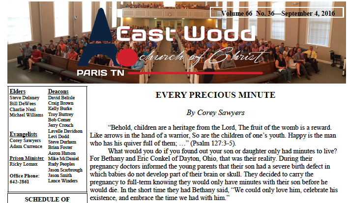 Sept. 4, 2016, Bulletin for the East Wood church of Christ in Paris, TN