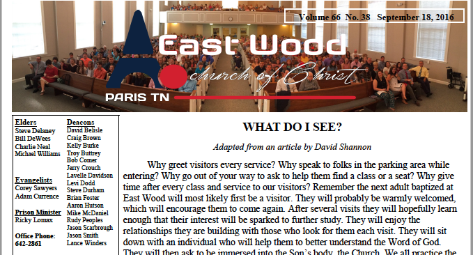 Bulletin for the East Wood church of Christ in Paris, TN - 9.18.16