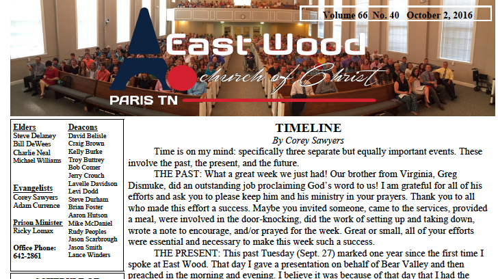 Bulletin for the East Wood church of Christ in Paris, TN, for 10/2/16
