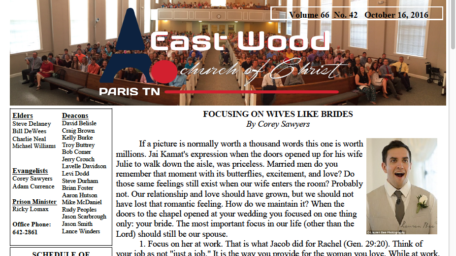 Bulletin for the East Wood church of Christ in Paris, TN