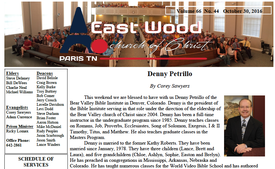 Bulletin for the East Wood church of Christ in Paris, TN, for October 30, 2016.