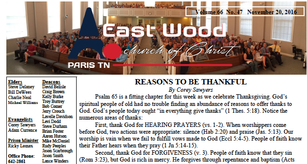 Bulletin for the East Wood church of Christ in Paris, TN. Click link above.