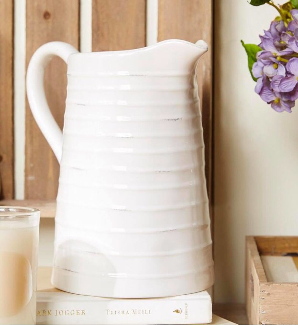 Ribbed White Pitcher
