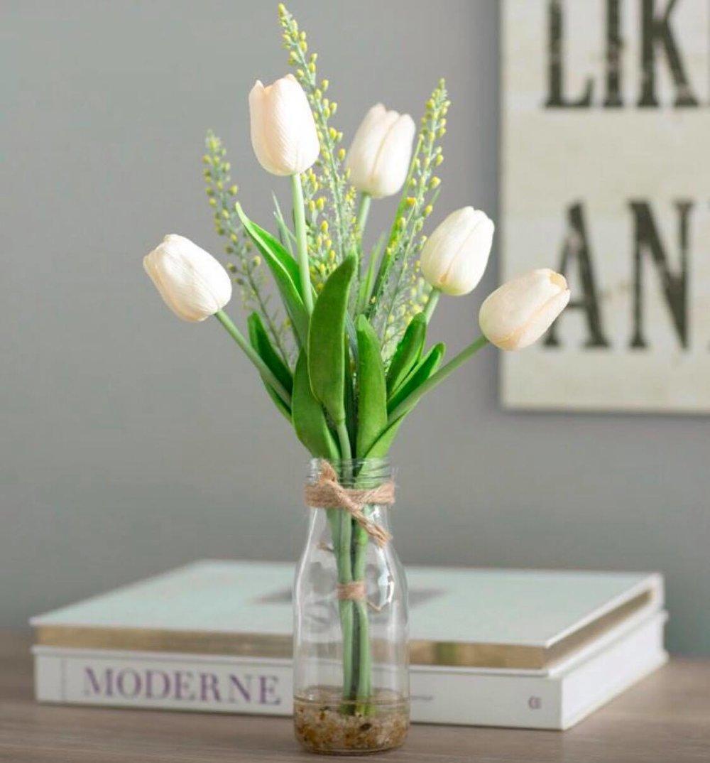 Faux white tulips